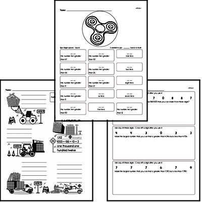 Numbers to 1,000<BR>Hybrid Distance Learning or At School Math Practice Workbook<BR><BR>(Chapter #1)