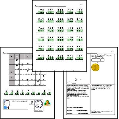 Subtraction up to 1,000<BR>Hybrid Distance Learning or At School Math Practice Workbook<BR><BR>(Chapter #3)
