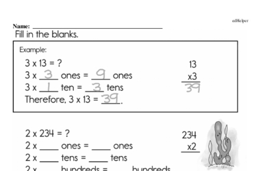 Multiplication (with one factor being larger than one digit)<BR>Hybrid Distance Learning or At School Math Practice Workbook<BR><BR>(Chapter #7)