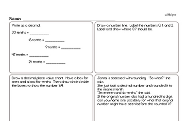 Decimals<BR>Hybrid Distance Learning or At School Math Practice Workbook<BR><BR>(Chapter #7)