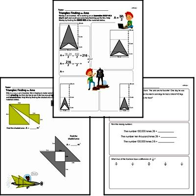 Areas of a Triangle<BR>Hybrid Distance Learning or At School Math Practice Workbook<BR><BR>(Chapter #6)