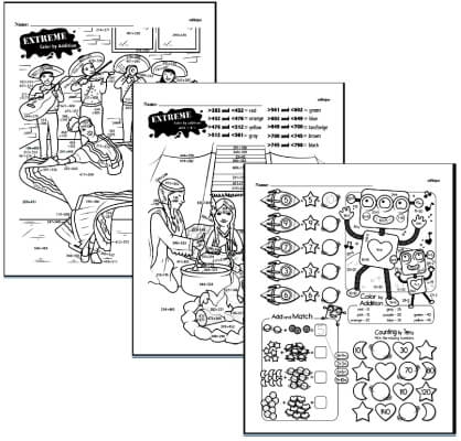 Coloring with Math Worksheets