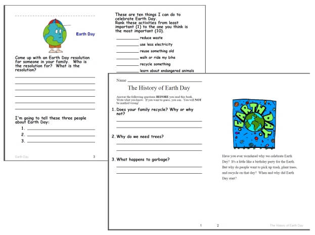 Earth Day Reading, Math, and Writing Activity Books