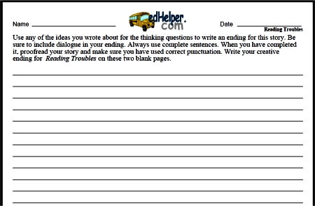 Finish the Story Writing Worksheets