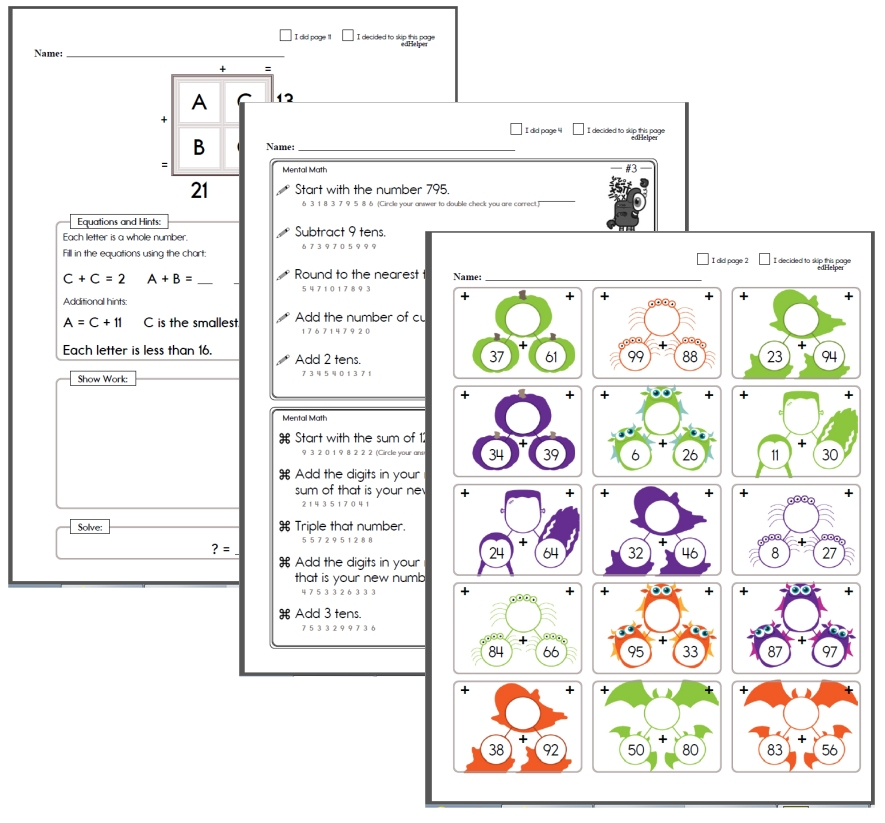 Mental Math Halloween Worksheets
