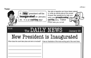 Fifth Grade Inauguration Workbook - Writing, Reading, and Activities