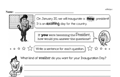 First Grade Inauguration Workbook - Writing, Reading, and Activities