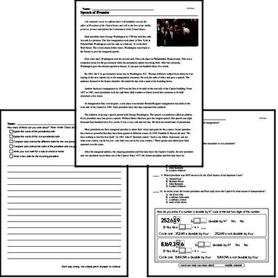 Fourth Grade Inauguration Workbook - Writing, Reading, and Activities