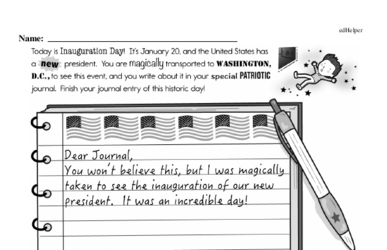 Second Grade Inauguration Workbook - Writing, Reading, and Activities