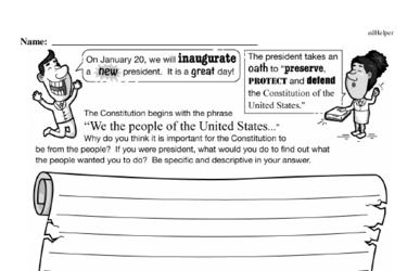 Sixth Grade Inauguration Workbook - Writing, Reading, and Activities