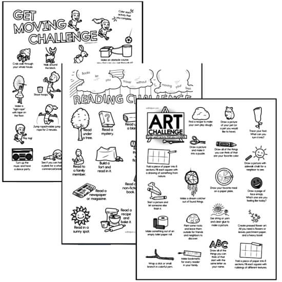 Art, Movement, and Reading Challenges for Kids