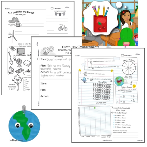 Earth Day Worksheets for First, Second, Third, and Fourth Graders