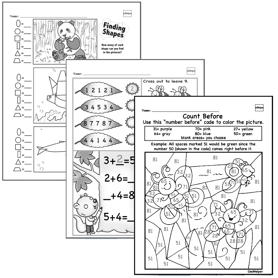 Easier Kindergarten Math Worksheets with fun coloring pages, practice writing numbers, and simple addition and subtraction math problems.