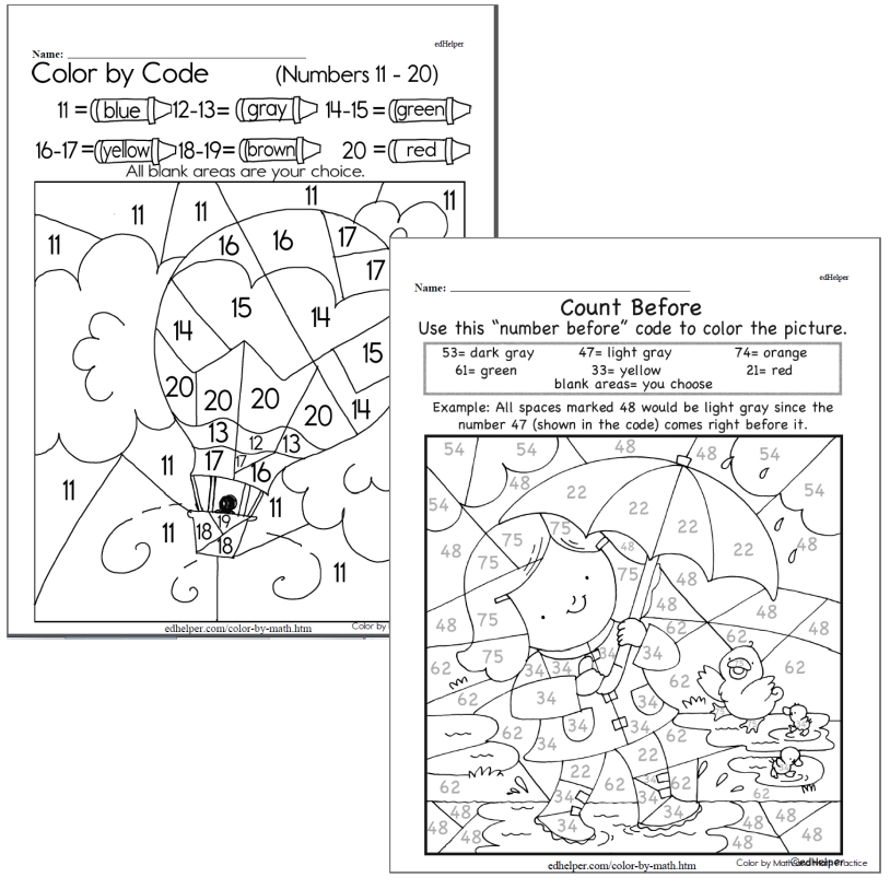 Kindergarten Color by Math Workbook (This Month's Worksheets)