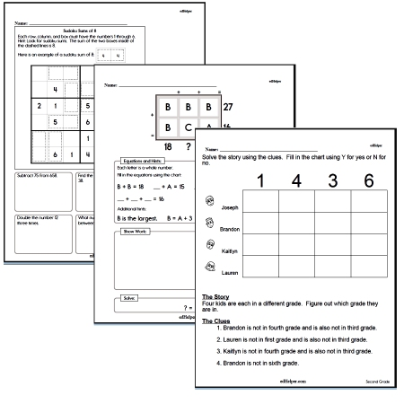 Math with Critical Thinking Puzzle Worksheets