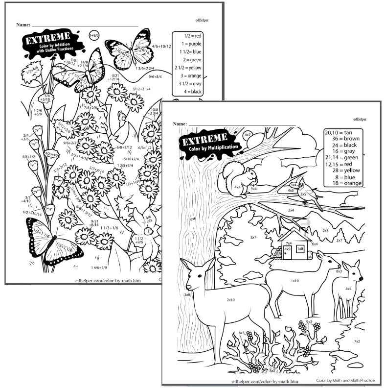 Third Grade Color by Math Workbook (This Month's Worksheets)
