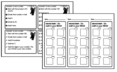 Mental Math Practice Problem Student Cards