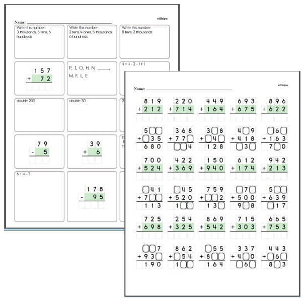 Missing Digits Math Worksheets
