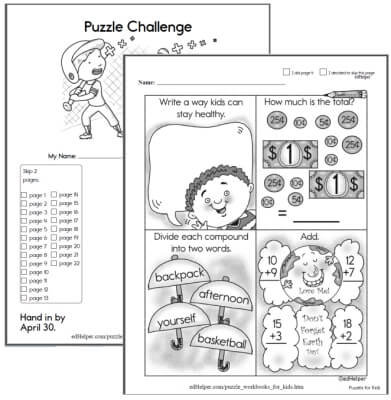 Puzzles and Math Workbook for Kids