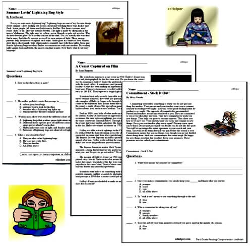 Reading Comprehension Worksheets for Grades 2 to 6